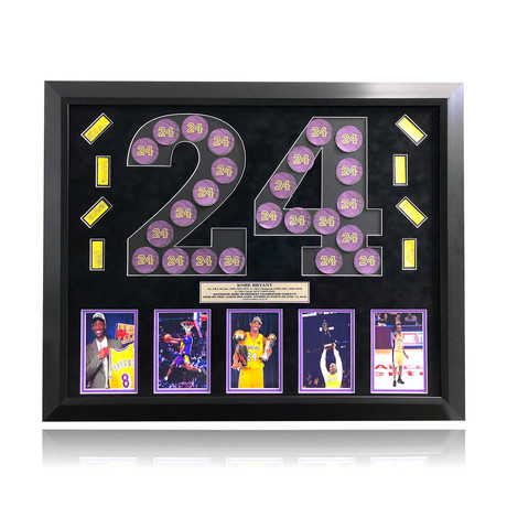 """Kobe Bryant // Final Lakers Game Framed """"24"""" Confetti Collage"""