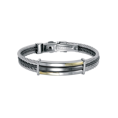 Stainless Steel + Gold Accent ID Cable Bangle // Silver + Gold (XS)