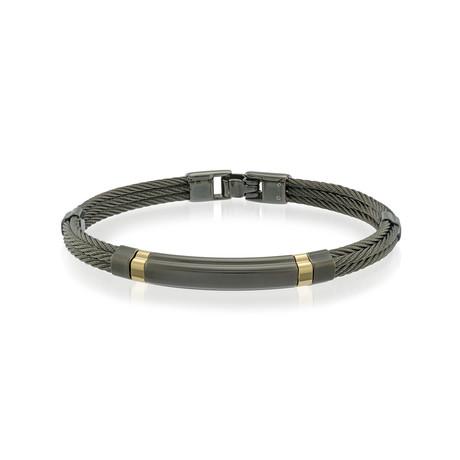 Stainless Steel Cable Bracelet V1 // Black + Gold (XS)