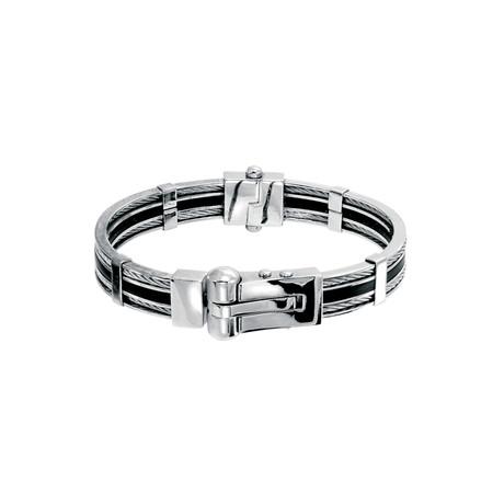 Cable + Rubber Handcuff Bangle // Silver (XS)