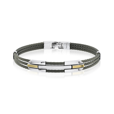 3-Row Cable Bracelet // Black + Silver (XS)