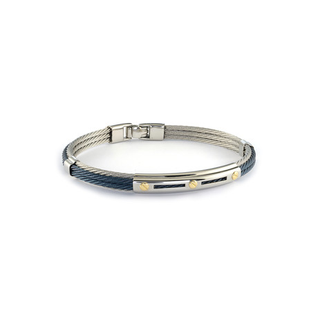 Stainless Steel + Gold Accent Bracelet // Steel + Blue (XS)