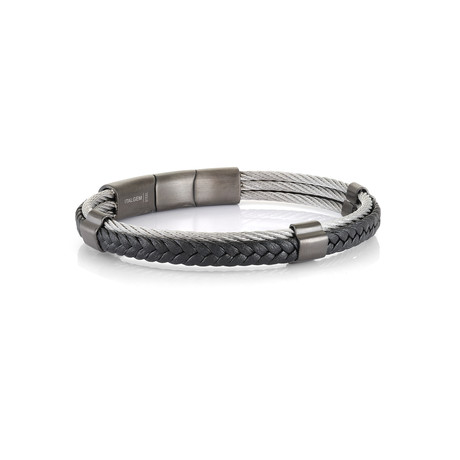 Stainless Steel Cable + Leather Bracelet // Silver + Black (XS)