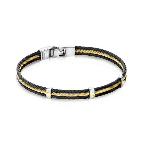 Two-Tone Cable Bracelet // Black + Gold (XS)
