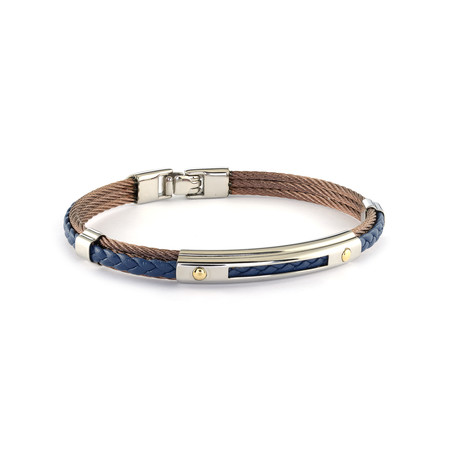 Stainless Steel + Leather Bracelet // Coffee + Blue (XS)