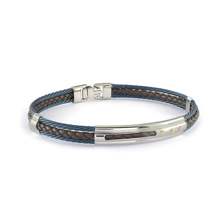 Stainless Steel + Leather Bracelet // Blue + Brown (XS)
