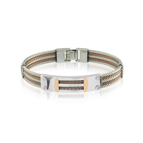 Two-Tone 5-Row Cable Bracelet // Silver + Rose Gold (XS)