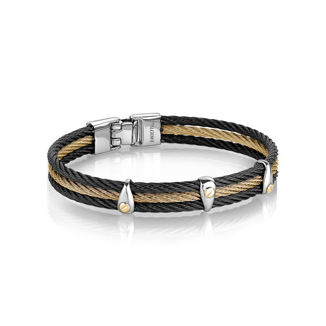 Two-Tone 3-Row Cable Bangle // Black + Gold (XS)
