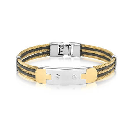 Two-Tone 5-Row Cable + Rubber Bracelet // Gold + Black (XS)