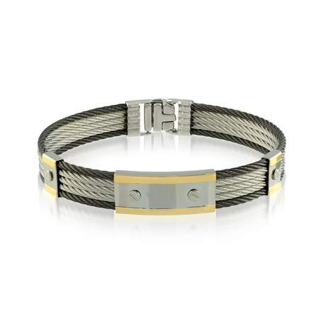 Two-Tone 5-Row Cable Bracelet // Black + Silver + Gold (XS)