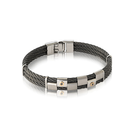 Gold Accent + Diamond Cable Bracelet // Steel + Silver (XS)
