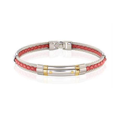 Stainless Steel Cable + Braided Leather Bracelet // Red + Silver (XS)