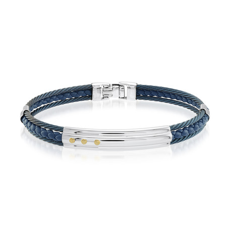 Stainless Steel Cable + Braided Leather Bracelet // Blue + Silver (XS)