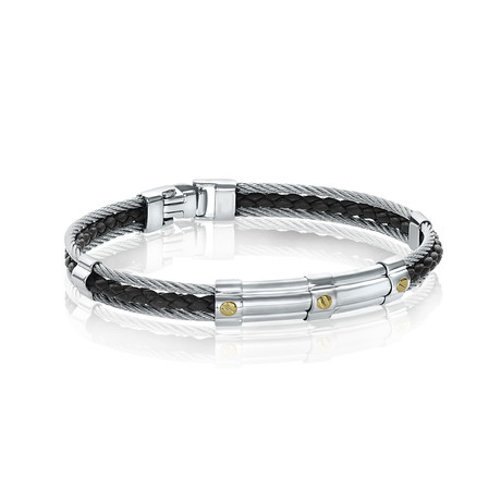 Double Cable + Braided Leather Bracelet // Black + Silver (XS)