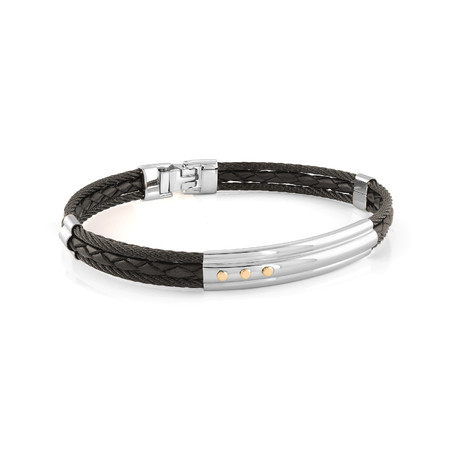 Stainless Steel Cable + Braided Leather Bracelet // Black + Silver (XS)