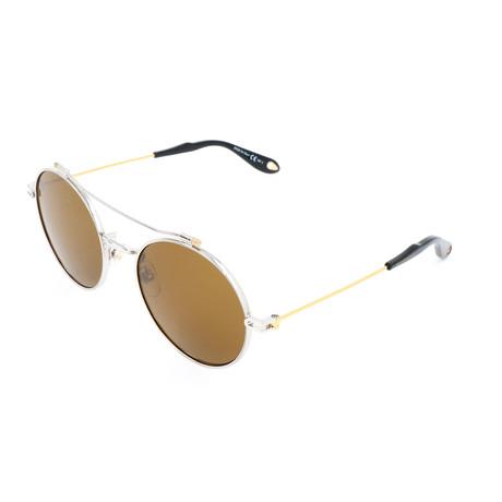 Unisex 7079 Sunglasses // Silver Gold + Brown