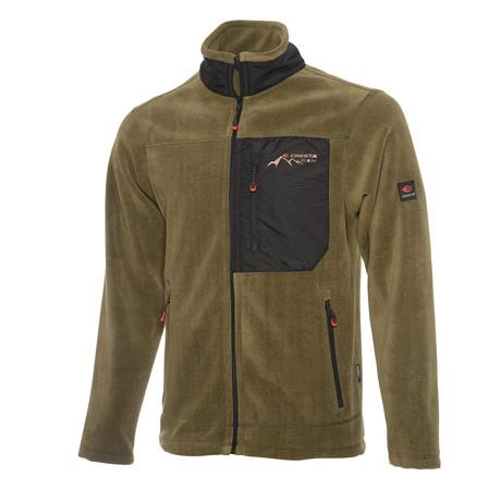 Full Zip Pieced Fleece Jacket // Olive Green + Black (S)