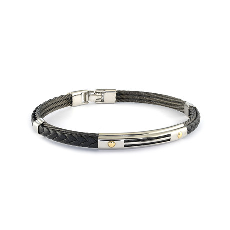 Stainless Steel + Leather Bracelet // Black + Silver (XS)