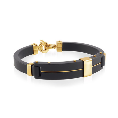 Forged Stainless Steel Bangle // Black + Gold (XS)