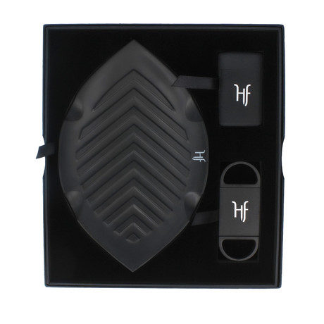 HF Gift Set // Leaf Ashtray + Refillable Single Torch Lighter + Cutter (Black)