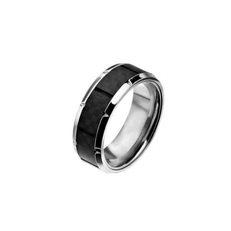Ridged Edge + Solid Carbon Fiber Ring // Black (Size 9)