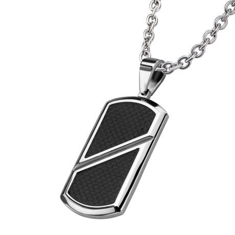 Inlayed Dog Tag Pendant + Chain // Black