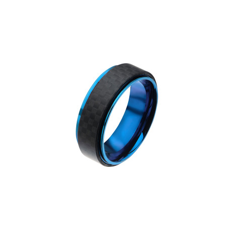 Stainless Steel + Solid Carbon Fiber Ring // Black + Blue (Size 9)