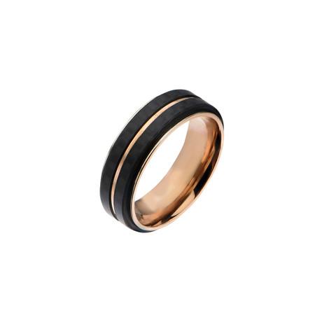 Carbon Fiber Stripes Ring // Black + Rose Gold (Size: 9)