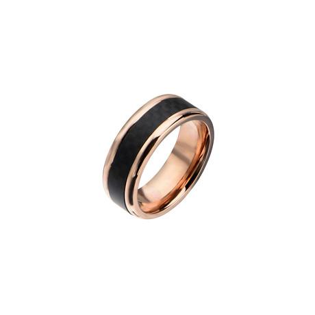 Carbon Fiber Center Ring // Black + Rose Gold (Size: 9)