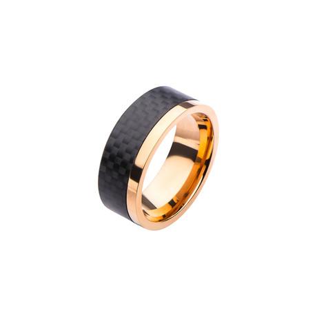 Stainless Steel + Carbon Fiber Ring // Black + Rose Gold (Size 9)