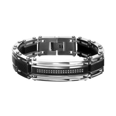 Carbon Fiber + Stainless Steel ID Bracelet // Black + Steel
