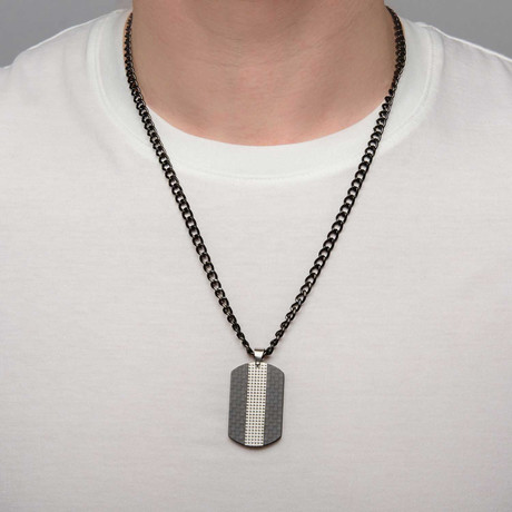 Dog Tag Pendant + Chain // Black + Steel