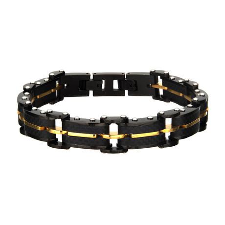 Carbon Fiber + Plated ID Link Bracelet // Black + Gold