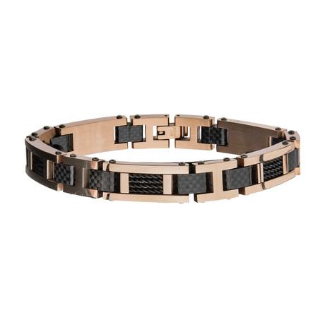 Stainless Steel + Carbon Fiber Link Bracelet // Rose Gold + Brown