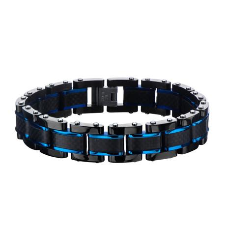 Carbon Fiber Center Link Bracelet // Black + Blue