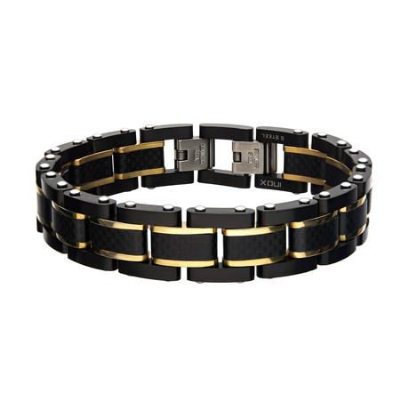Carbon Fiber Link Bracelet // Black + Gold