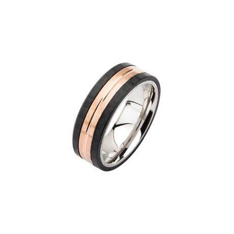 Stainless Steel + Carbon Fiber Ring // Rose Gold + Black (Size 9)