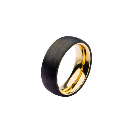 Carved Carbon Graphite Band // Black + Gold (Size: 9)