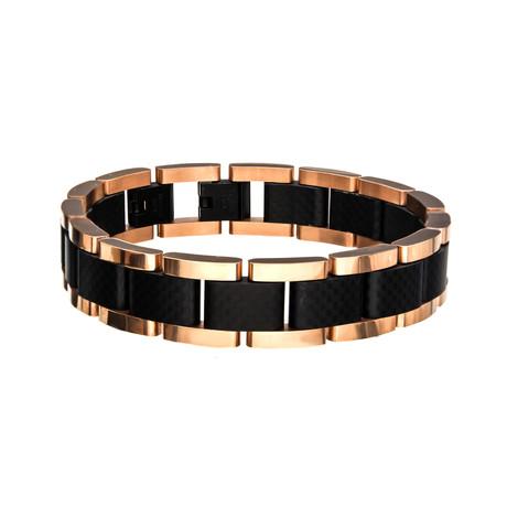Carbon Fiber Link Bracelet // Rose Gold