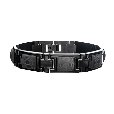 Two-Tone Stainless Steel + Carbon Fiber Link Bracelet // Black