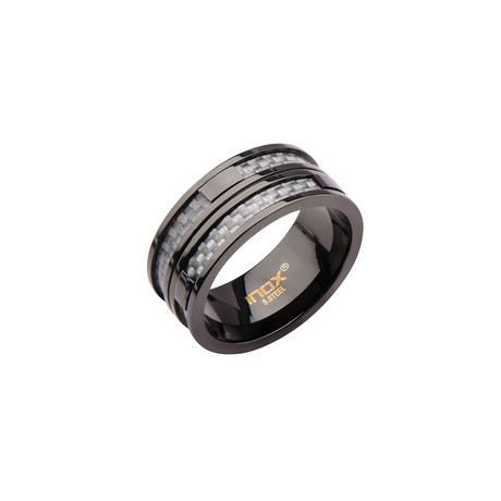 Stainless Steel Two Line Carbon Fiber Ring // Black (Size 9)