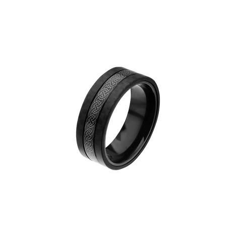 Celtic Design Stainless Steel + Solid Carbon Fiber Ring // Black (Size 9)