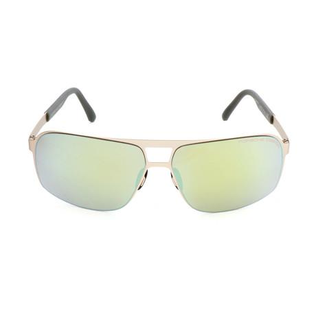 Men's P8579 Sunglasses // Light Green Gold + Silver Mirror