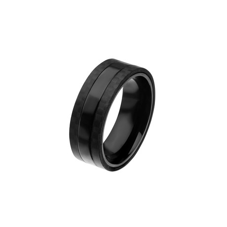 Stainless Steel + Solid Carbon Fiber Ring // Black (Size 9)