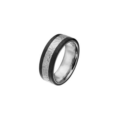 Hammered Stainless Steel + Solid Carbon Fiber Ring // Black + Steel (Size 12)