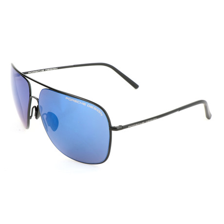 Men's P8607 Sunglasses // Black + Blue + Silver Mirror