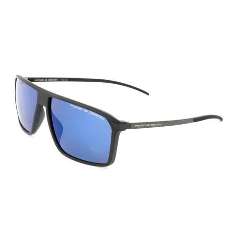 Men's P8653 Sunglasses // Black + Dark Blue Mirror