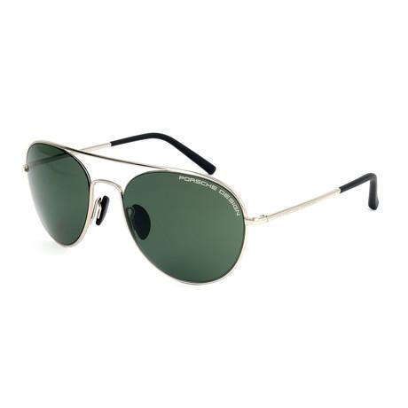 Unisex P8606 Sunglasses // Palladium + Green