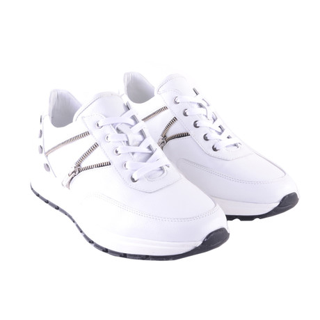 Zipper Design Fashion Sneaker // White (US: 7)