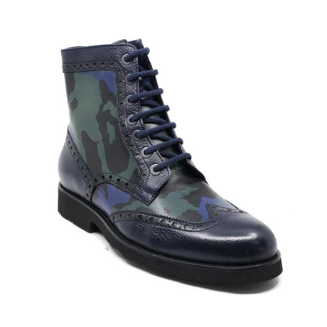 Camouflage Lace Up Boot // Navy (US: 7)